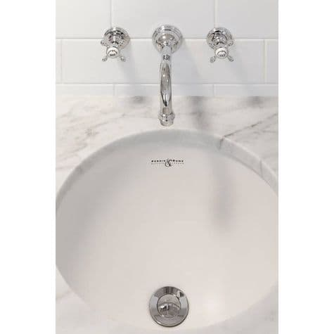3791 Perrin & Rowe Three Hole Wall Mounted Country Basin Tap Set Crosshead